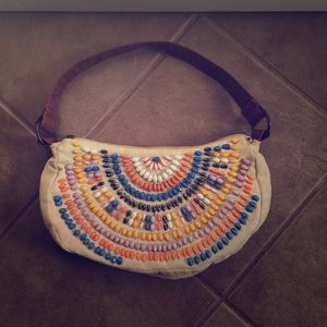 Aldo Beaded Boho Canvas Purse
